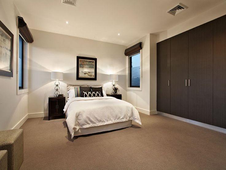 Modern bedroom design idea with carpet  builtin wardrobe