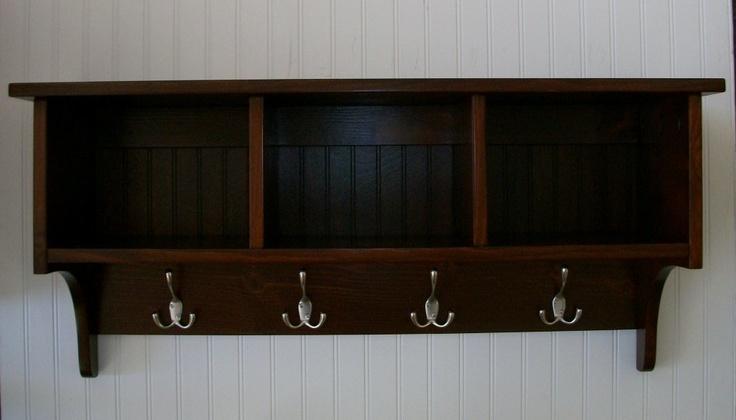 Wall Cubby Shelf Coat Rack Black Cherry Color Choice. $159