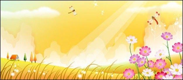 Cartoon Dragonfly  Dragonfly In Flower Garden 434440