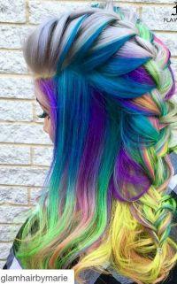 Blue mixed braided rainbow dyed hair color | hair colors ...