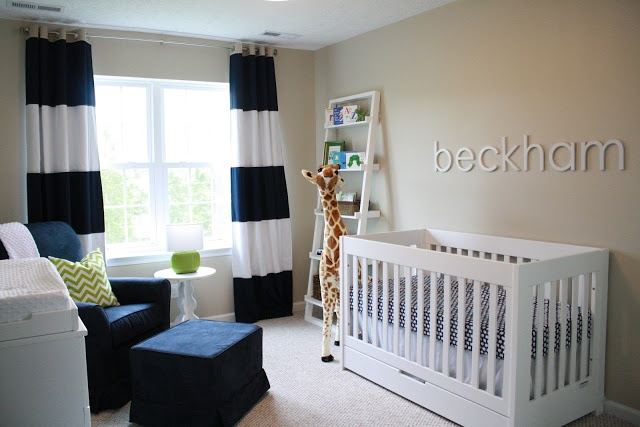 Preppy baby boy nursery, navy and lime