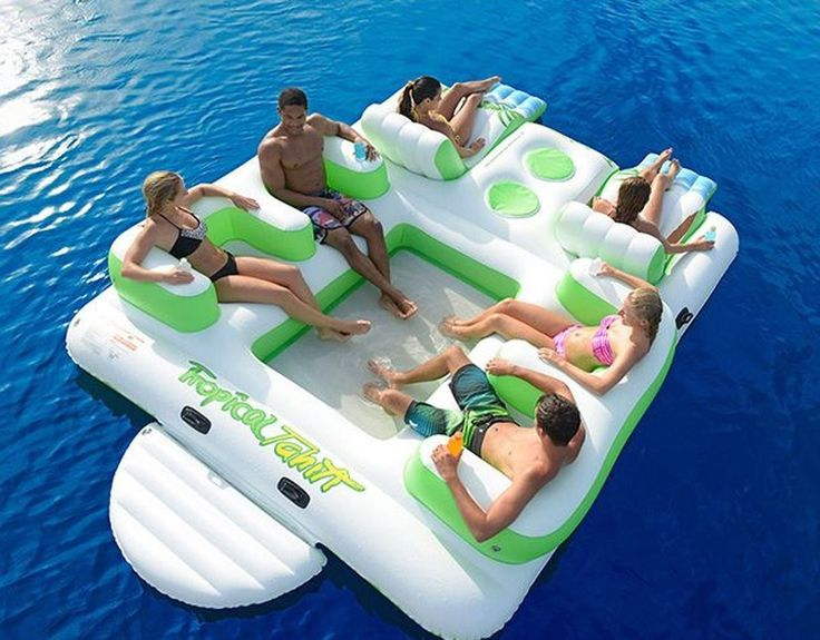 Details about Floating Island 6 person Inflatable Lounge Raft Pool Lake Water Sport 2 Coolers