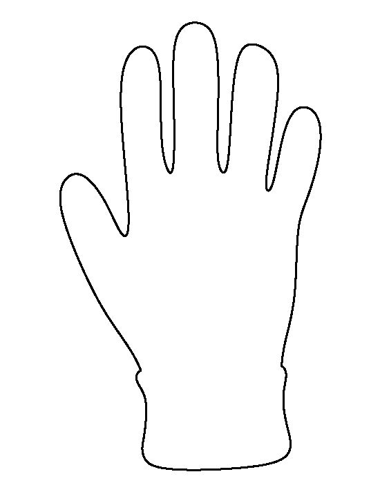 Glove pattern. Use the printable outline for crafts