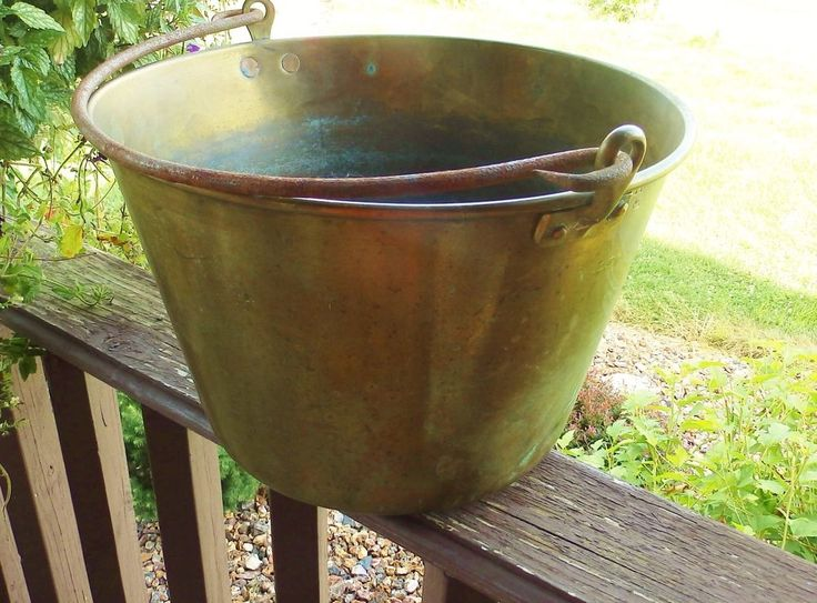 Antique Large Brass Pail Bucket 14 with Hand Cast Iron