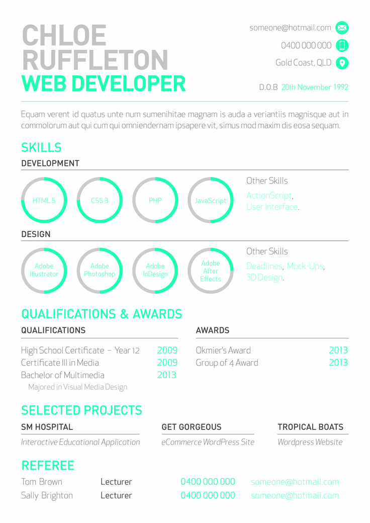 Web Developer's Resume With Mini Info Graphs By Melissa