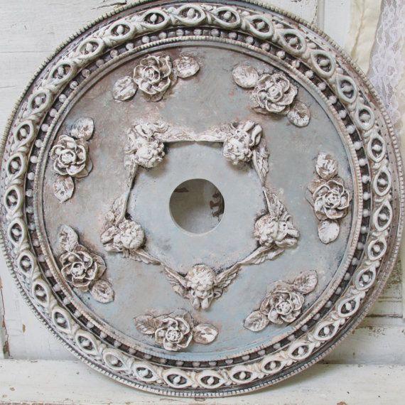 Ceiling Medallion cherubs and Roses French elegant hand