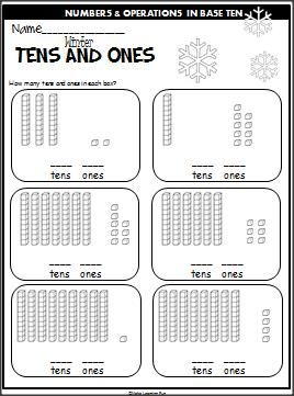 Winter Tens And Ones Practice. Students look at the base