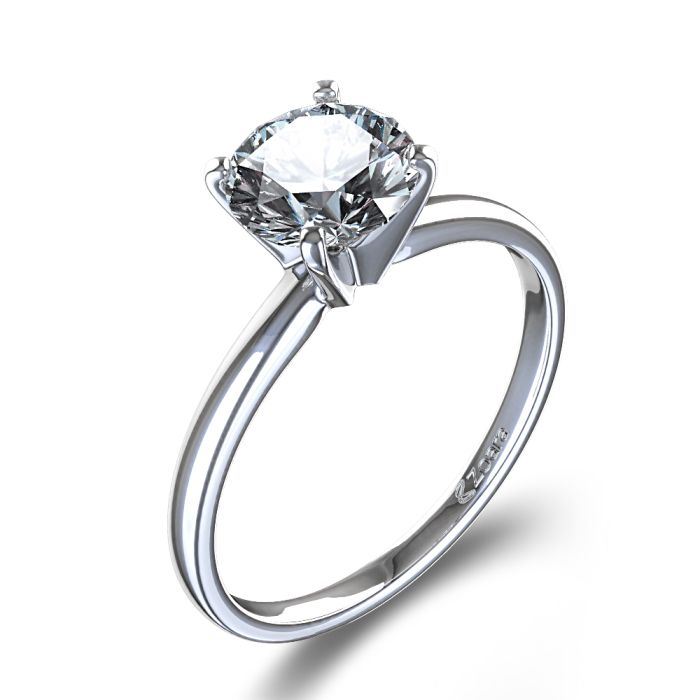 Timeless FourProng Round Solitaire Engagement Ring in Platinum  Pretty things  Pinterest