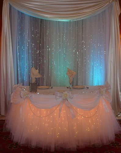 Table tutu with lights – would be cool to do this to Allys room – only in black!