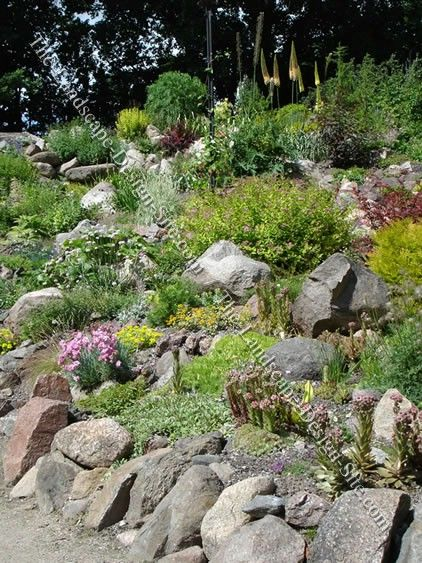 beautiful hillside river rock landscaping