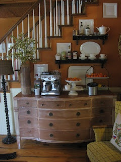 i really love this idea for an in-home coffee bar! Olive greens and darker woods