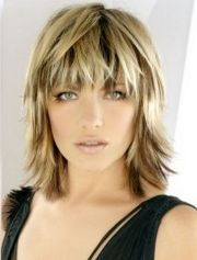 blonde medium length choppy shag