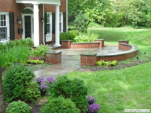 bluestone patio with brick sitting