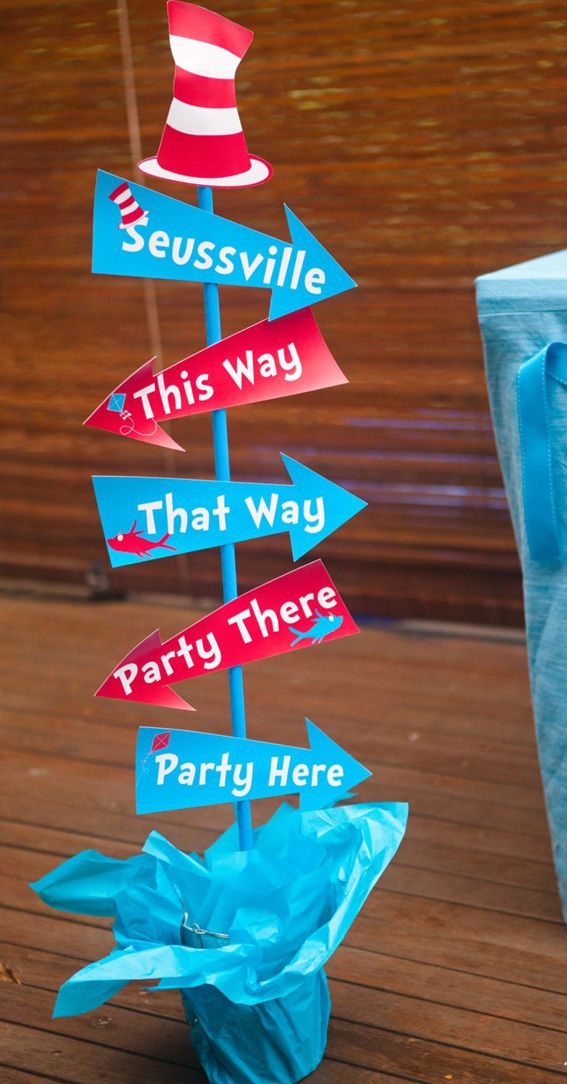Dr Seuss Party SignThis Way That Way Party Here Party There DrSeussParty  Dr Seuss