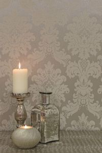 Stunning silver damask wallpaper design by Arthouse ...
