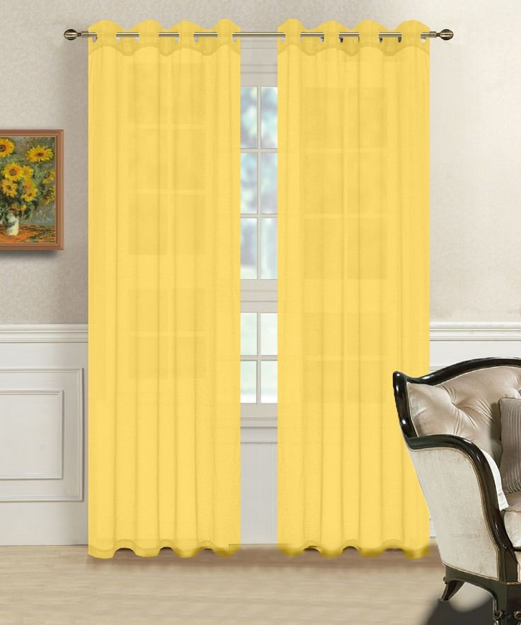 Warm Home Designs 1 Pair of Yellow Voile Sheer Window