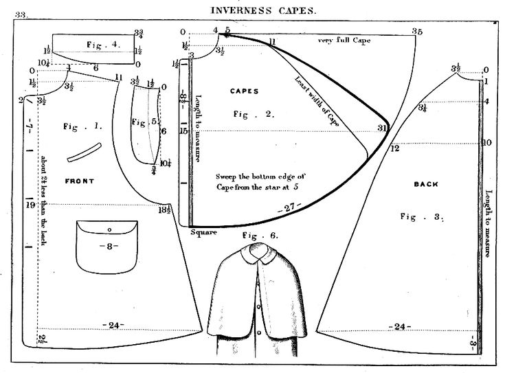 Inverness cape coat pattern with instructions. Period