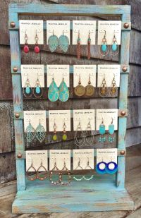 Shabby chic earring display www.rusticajewelry.com