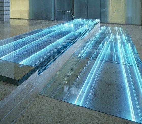 Mikyoung Kim River of Light illuminated glass treads