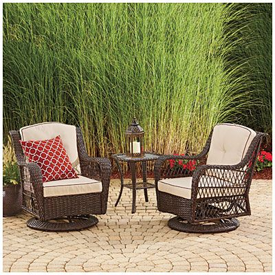1 piece patio chair cushions chrisanna wingback club wilson & fisher® barcelona 3-piece resin wicker glider chairs and table set at big lots. just ...