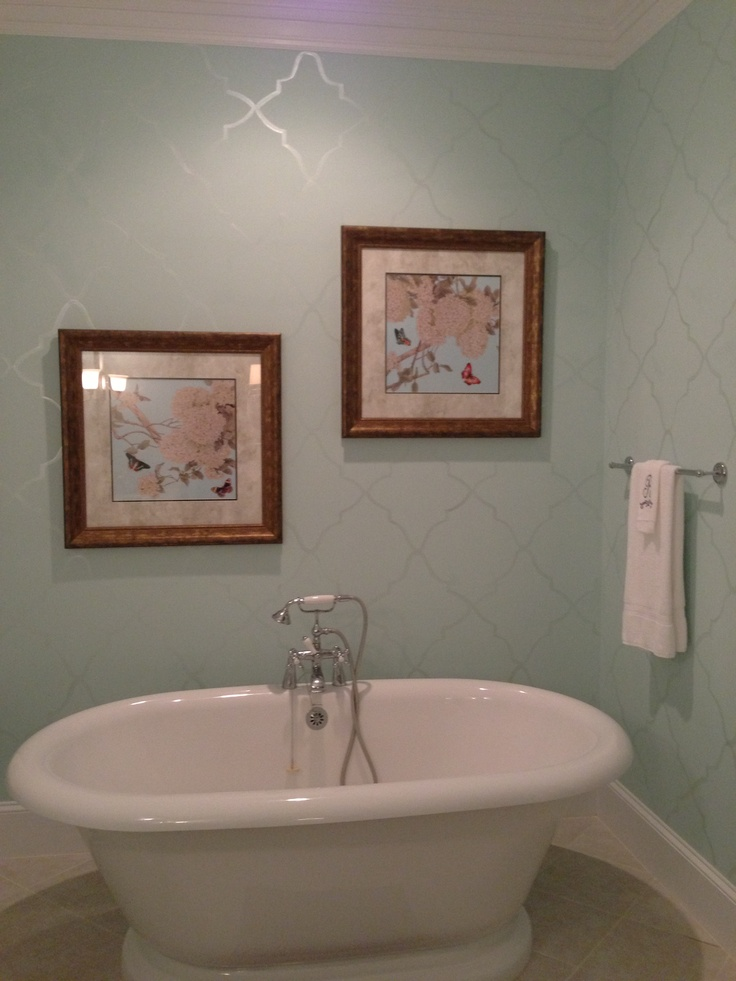 Benjamin Moore iced green paint with a hand painted design in pearl  New house  Pinterest