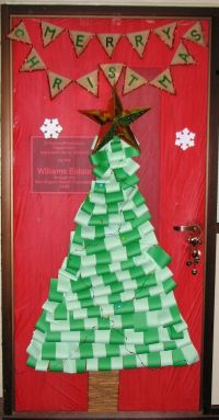 Paper tree with Merry Christmas banner   Christmas Door ...