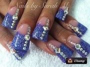 flared blue bling acrylic nail