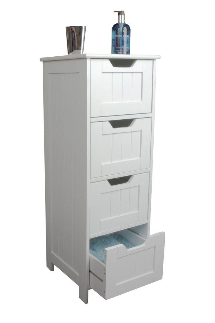Slim white wood storage cabinet  four drawers  bathroom