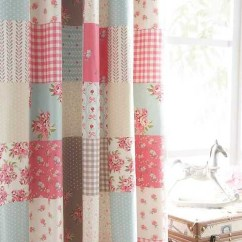 Living Room Valances Ideas Curtain Design For Small Window In Ballerina Shabby Patchwork Chic Blue Pink Cotton 66 X 72 ...