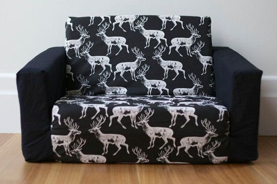 deer print sofa covers most comfortable bed for everyday use kids flip out cover: white on black with ...