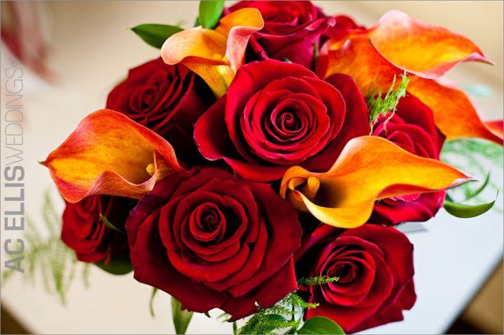 Wedding Flowers full wedding bouquet red orange flowers