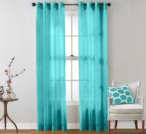 HLCME 2 Piece Sheer Window Curtain Grommet Panels Aqua Blue Teal 54 X 84 Each HLCME Http