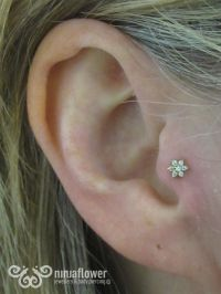 Tragus piercing with cz flower