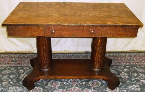 ANTIQUE Tiger Oak Empire Style Twin Column Library Table