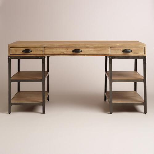 Wood and Metal Teagan Desk  Metals Desks and World