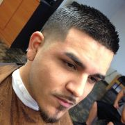 fade and box with skinny stache
