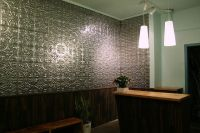tin ceiling tiles used on the wall | TIN | Wainscoting ...