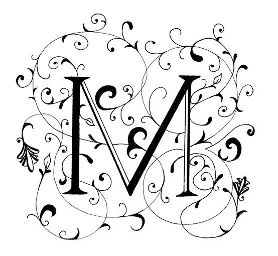 Fancy Letter M, decorated letter by Peggy Markham