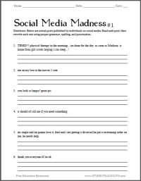 Social Media Madness Grammar Worksheet #1