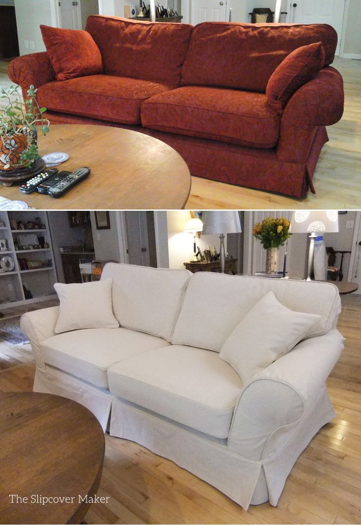 how to recover a sofa chair innovation bed john lewis before and after: custom slipcover in 12 oz. natural ...