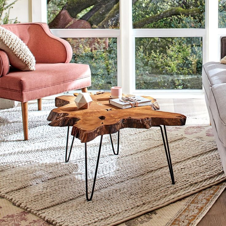 Easy Assembly Crafted Teak Wood Slab Coffee Table With