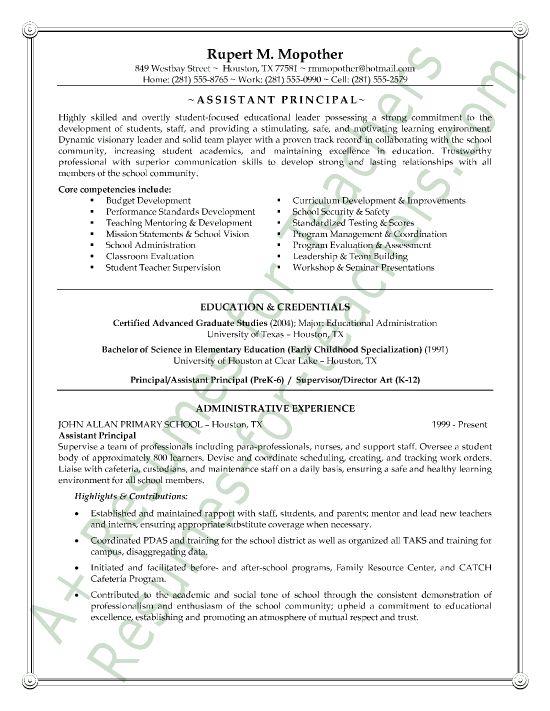 resume for high school principal