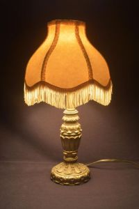 Antique Table Lamp Cast Metal Reproduction Tassel Shade ...