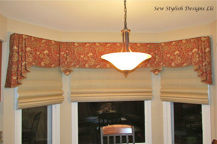 Sophisticated Linen Valance With Pleated Jabots Layered Over Roman Shades On Bay Window In
