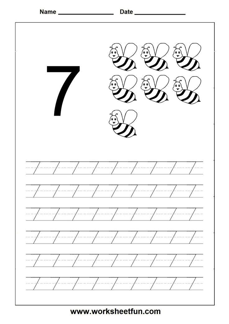 Number Tracing Worksheet  7  Homeschooling Number Tracing  Pinterest  Tracing Worksheets