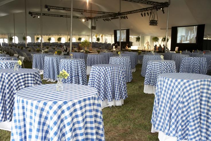 bluewhite checkered table cloths  Wedding Ideas