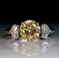 2.50 Ct Fancy Color Diamond Three Stone Engagement Ring ...