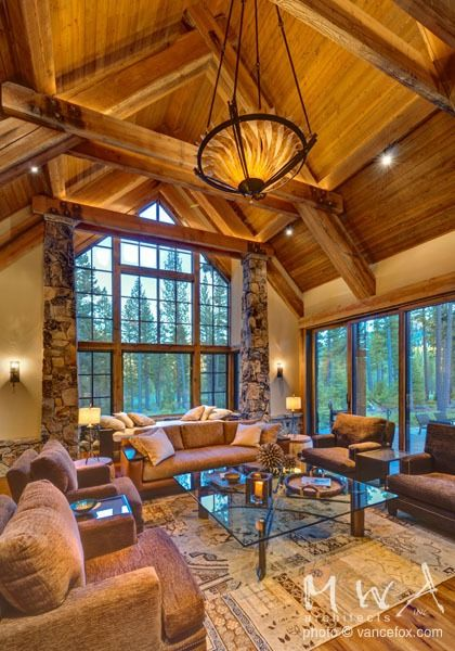 Wood ceiling at exposed heavy timber trusses Carameltone stain used for ceiling trusses and