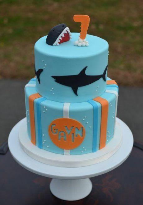 Two Layer Shark Cake Baby Shower Shark Pinterest