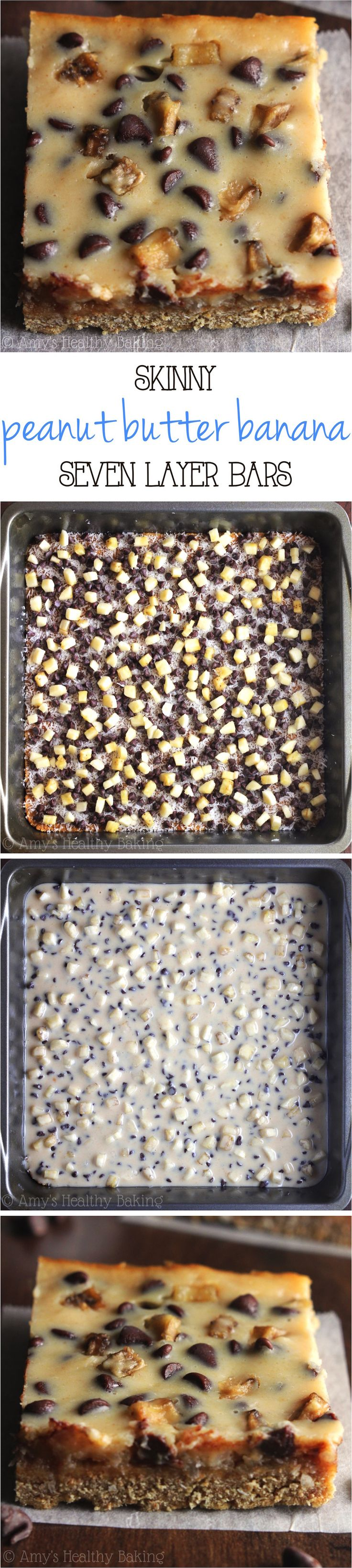 Skinny Peanut Butter Banana Seven Layer Bars – with 3 simple swaps, these magic bars have all of the dec